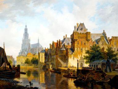 Widok na port w Hadze - Bartholomeus Johannes van Hove