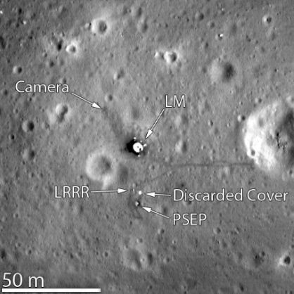 Fotografia wykonana z sondy LRO, potwierdzająca realność misji Apollo 11.