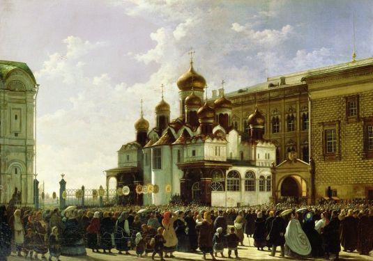 Wielkanocna procesja przy Soborze Zwiastowania na Kremlu - Karl-Friedrich Petrovich Baudry, 1860