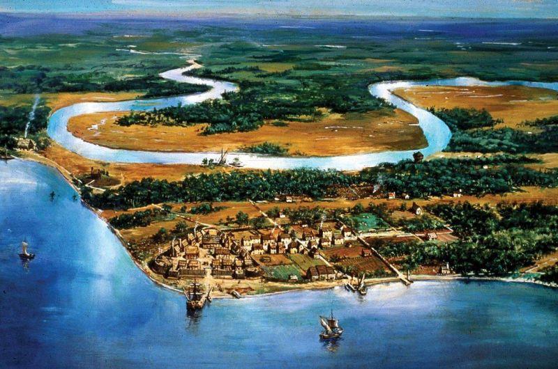 kolonia Jamestown w 1615, źródło: Encyclopaedia Britannica