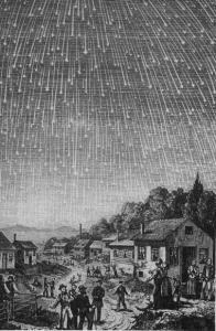 Deszcz Leonidów z 1833 roku na ówczesnej rycinie