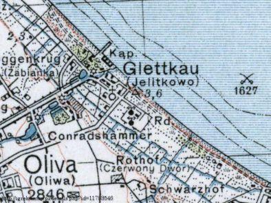 Mapa z zaznaczoną radiostacją w Jelitkowie (źródło: igrek.amzp.pl)
