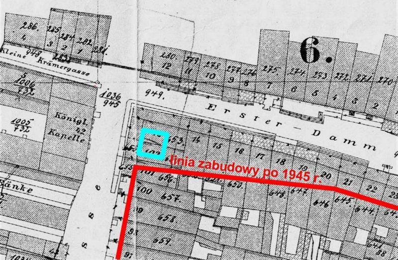 Fragment tzw. Planu Buhsego z naniesioną lokalizacją Fontanny Czterech Kwartałów. Opr. A.Masłowski.