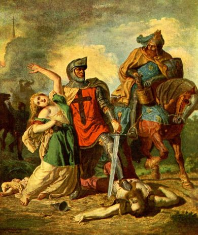 Wojciech Gerson, Krzyżacy w Polsce (Branka Krzyżacka), pokolorowana reprodukcja-kartka pocztowa