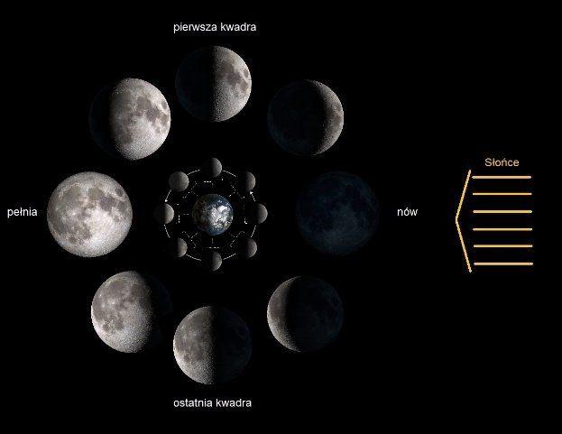Schemat powstawania faz Księżyca
