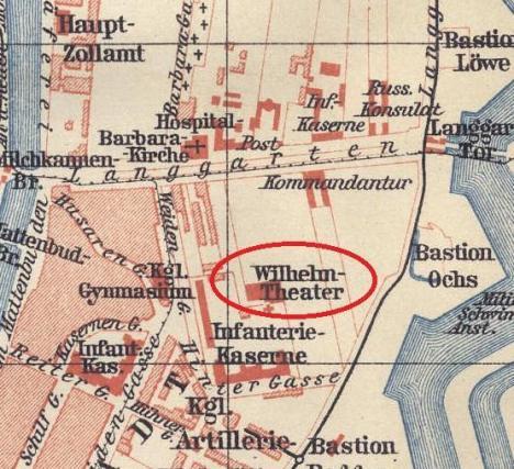 Lokalizacja Wilhelm Theater na przedwojennej mapie.