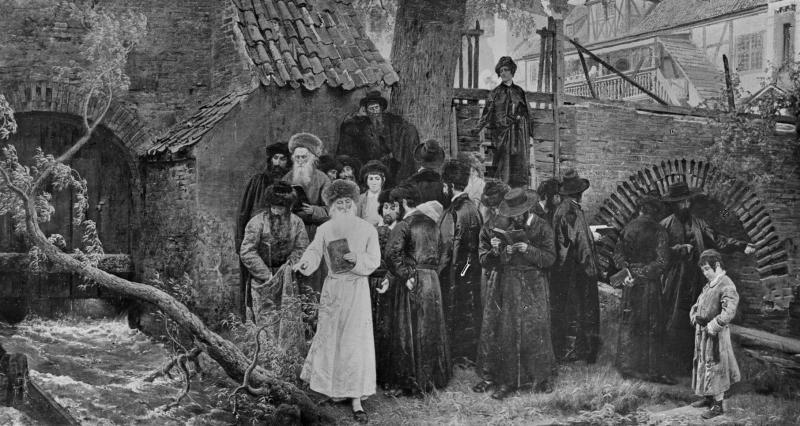 Żydzi modlący się nad Radunią