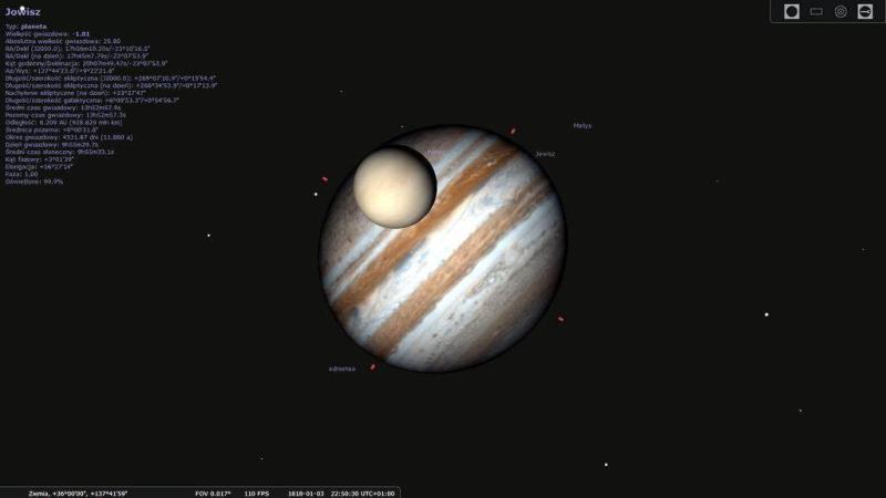 Tranzyt Wenus na tle Jowisza z dnia 03.01.1818 roku, widziany z rejonu Wysp Japońskich