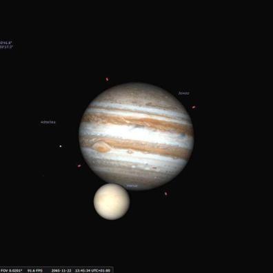 Tranzyt Wenus na tle Jowisza z dnia 22.11.2065 roku, widziany z terytorium Polski (w prawym dolnym rogu sytuacja na biegunie południowym)