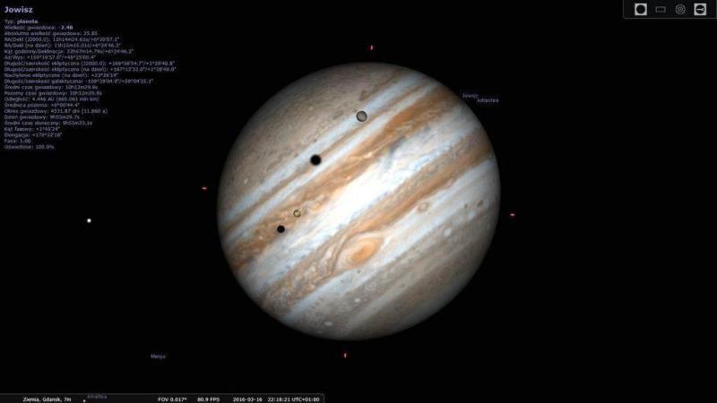 . Podwójny tranzyt Ganimedesa i Io na tle Jowisza z dnia 16.03.2016 roku. Widoczne również cienie obu księżyców na tarczy planety