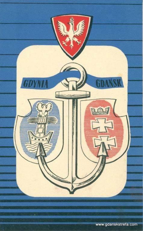 jeden z przedwojennych projektów herbu Gdyni (po lewej)