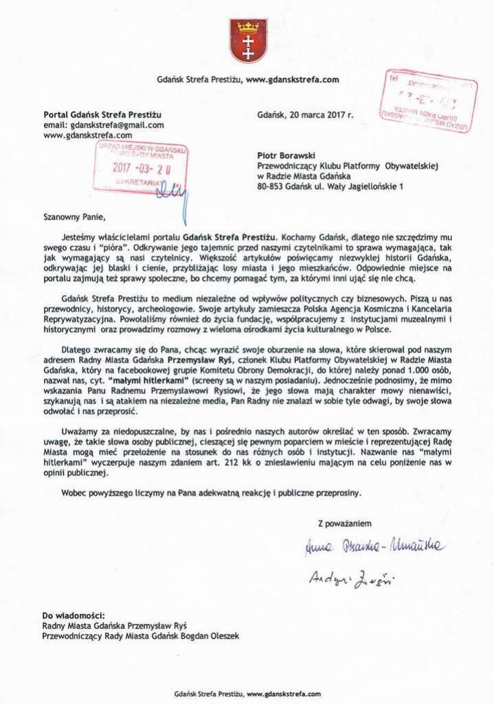 Pismo do Przewodniczącego Klubu Platformy Obywatelskiej w Radzie Miasta Gdańska Piotra Borawskiego