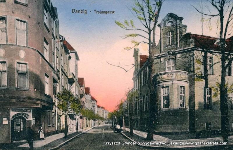 Perspektywa Trojangasse (dziś: ul. M. Seredyńskiego), między 1909 a 1918