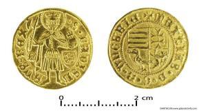 Złota moneta Macieja Korwina, 1465-1470 r.