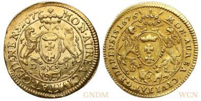 Rewersy dukatów gdańskich 1677 i 1676