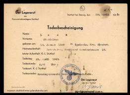 Wystawiony w obozie akt zgonu ojca Felicjana, Stanisława Łady.