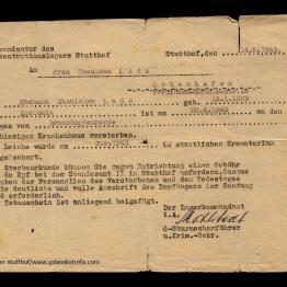 Zawiadomienie o śmierci więźnia Stanisława wysłane do jego żony.