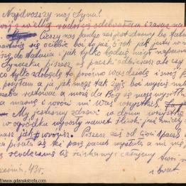 List matki do syna przebywającego obozie w Stutthofie.