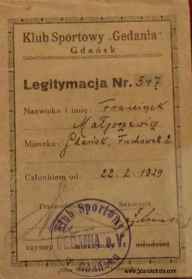 Legitymacja klubowa KS Gedania nr 547 należąca do Franciszka Małgorzewicza.