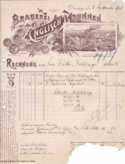 Rachunek Brauerei Englisch Brunnen Elbing wystawiony hotelowi Waltera Bahlingera z Sobowidza w 1916 roku, ze zbiorów autora.