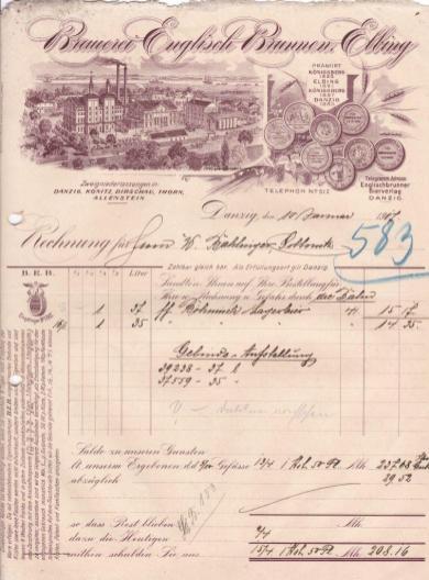 Rachunek Brauerei Englisch Brunnen Elbing wystawiony hotelowi Waltera Bahlingera z Sobowidza w 1917 roku, ze zbiorów autora.