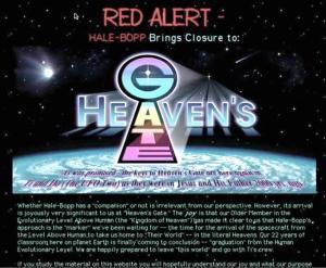 Ogłoszenie sekty Wrota Niebios na temat zbawiennego pojawienia się komety Hale-Bopp, poprzedzające masowe samobójstwo członków wspólnoty