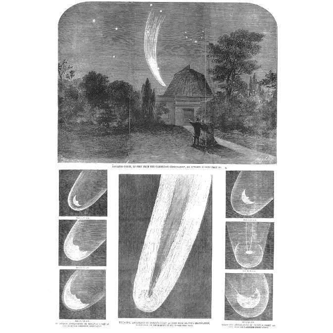 Szkice jądra, głowy i warkocza komety Donatiego, obserwowanej w obserwatorium astronomicznym w Cambridge. Źródło: The Illustrated London News (1858)