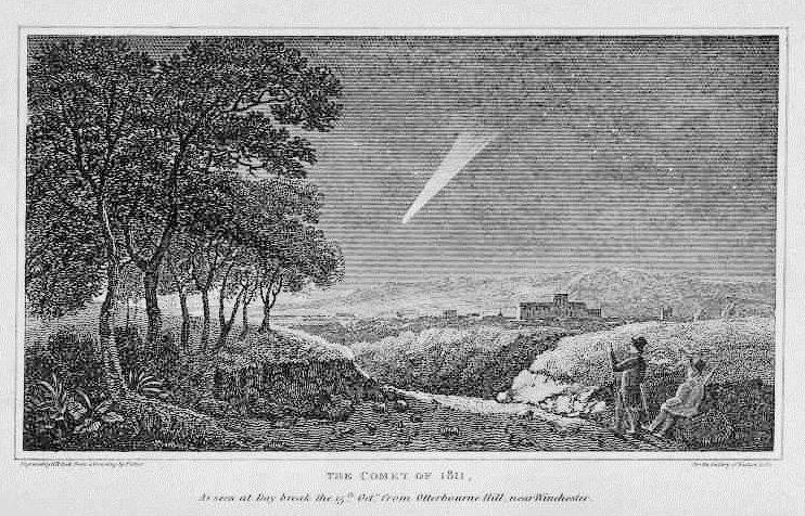 Wielka Kometa 1811 widziana ze wzgórz wokół wsi Otterbourne w dystrykcie Winchester (Anglia). Autor ryciny: nieznany