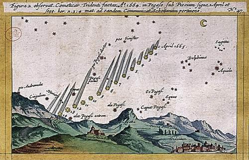 Jedna z kart z dzieła Stanisława Lubienieckiego z wyrysowanym wśród gwiazd szlakiem komety z 1664 roku