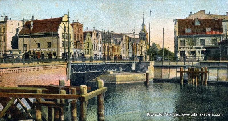 Widok na Długie Ogrody, widoczny most Stągiewny. Ok. 1904 rok