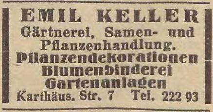 Reklama zakładu Emila Kellera z 1935 r. Widoczny nowy adres przedsiębiorstwa. Źródło: EWB 1935.