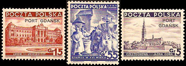 Znaczki Poczty Polskiej w obiegu na terenie Wolnego Miasta Gdańska.