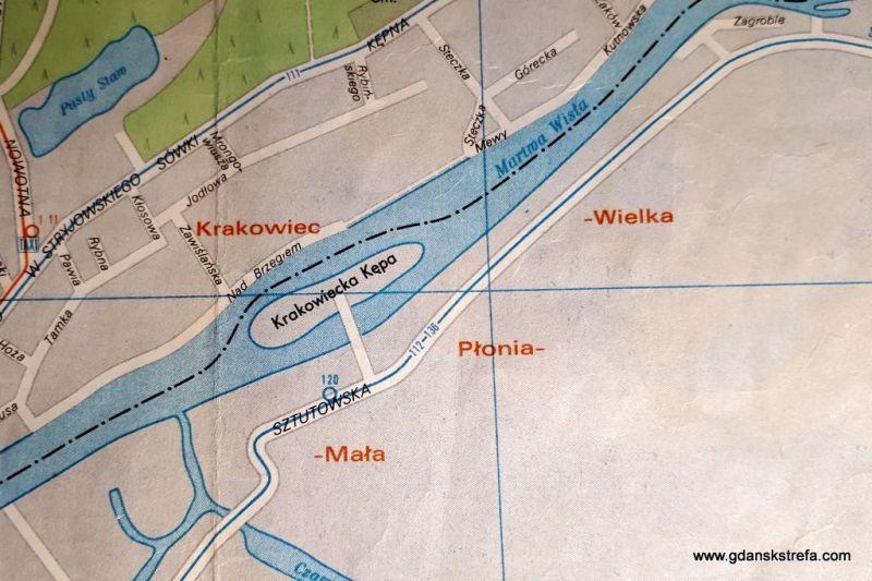 Plan Gdańska z 1974. W kolejnym roku już wyspy nie będzie.