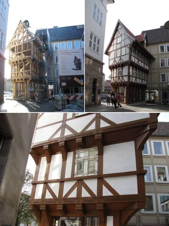 Nie ma fałszowania historii. Napis na budynku głosi: ''Wybudowane w 1509. Zniszczone w 1945. Zrekonstruowane w 2009''.