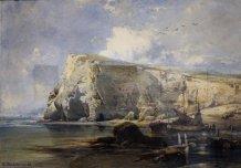 """Eduard Hildebrandt """"Łodzie rybackie na skalistym wybrzeżu"""""""