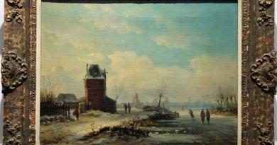 "Eduard Hildebrandt ""Holenderski pejzaż zimowy"""