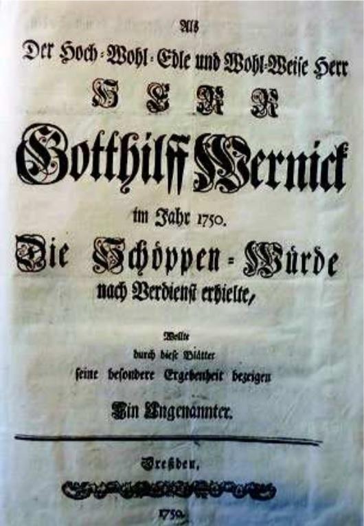Druk na cześć wyboru G. Wernicka do ławy miejskiej, strona tytułowa 1750 r.Ze zbiorów PAN Biblioteki Gdańskiej