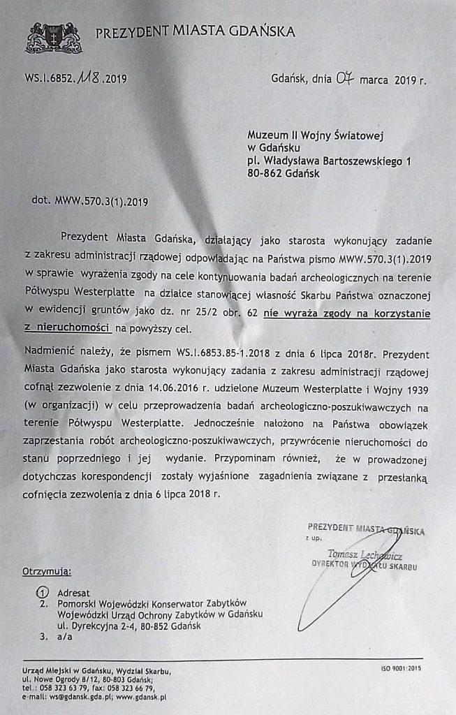 Westerplatte, cofnięcie zgody na prace archeologiczne