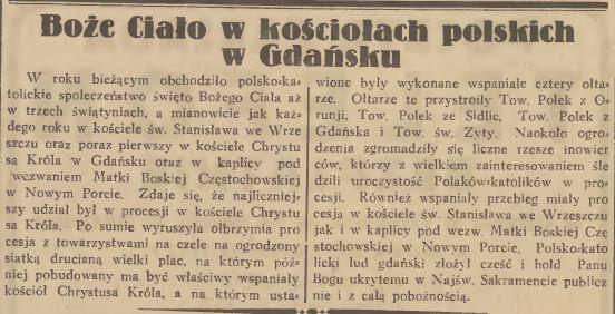 """Krótka notatka prasowa z """"Gazety Gdańskiej"""" dotycząca procesji Bożego Ciała z 1933 roku."""