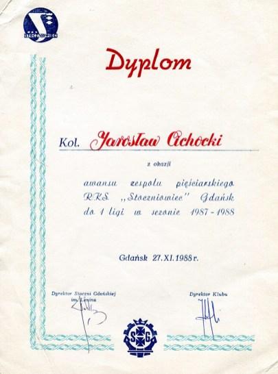 Dyplom z okazji awansu Jarosława Cichockiego w sezonie 1987/1988.