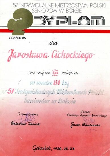 Dyplom za zajęcie III miejsca dla Jarosława Cichockiego w roku 1986.