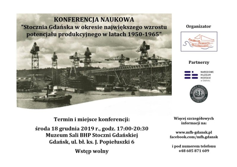 Plakat konferencja Stoczni Gdańska 18 grudnia 2019