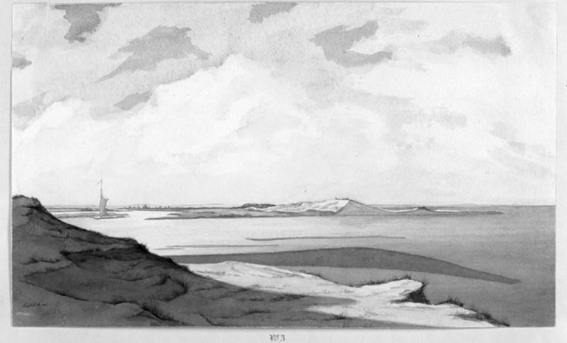 3 - Podobne ujęcie od wschodu w kierunku Gdańska; miejsce, gdzie wody Wisły Śmiałej łączą się bezpośrednio z wodami Bałtyku
