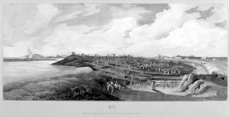 7 - Budowa nowego kanału na Leniwce, w głębi berlinka na Wiśle Śmiałej, tu powstała śluza i potem nieopodal fort w Płoni Wielkiej.