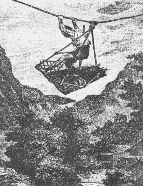 """""""Kolejka linowa"""" na japońskiej rycinie z XVII w. Trzeba było użyć siły mięśni, by się przesunąć na przymocowanej na stałe linie."""