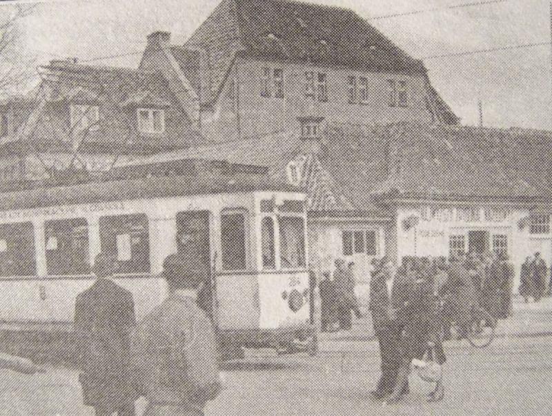 """Róg ob. alei Zwycięstwa i Hallera - dawny budynek """"Polonii"""". G. Danielewicz, """"Pamięci powojennego Gdańska - Wrzeszcz"""