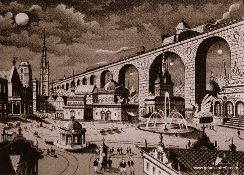 Tak wyobrażano sobie Gdańsk w przyszłości, konkretnie w 2000 roku. Pocztówka z początku XX wieku. Estakada kolejowa przez Drogę Królewską.