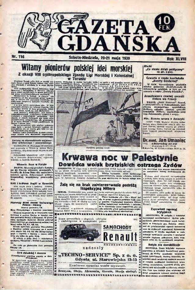 Ostatni przedwojenny numer Gazety Gdańskiej