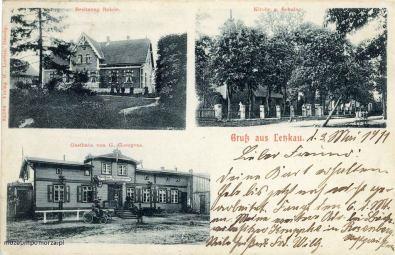 W lewym górnym rogu okazały dom rodziny Rohde (istnieje do dzisiaj Leszkowy nr 42). W prawym rogu kościół i nieduży budynek z końca XIX wieku, w którym mieściła się szkoła i organistówka (dzisiaj Leszkowy nr 23). Zdjęcie dolne przedstawia gospodę i sklep Gustawa Goergensa. Przedtem działała tu gospoda Gasthaus zur Deutchen Reichshalle (Gospoda pod Niemieckim Parlamentem). Budynek nie zachował się. Stał na parceli Leszkowy nr 31.