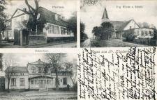 Pierwsze zdjęcie przedstawia dzisiejszą ulicę Osadników Wojskowych w Cedrach Wielkich. Na ulicy tej obok kościoła parafialnego i budynków mieszkalnych znajdowało się kilka stawów pełniących funkcję zbiorników przeciwpożarowych. Po lewej stronie widoczny duży dom podcieniowy- własność rodziny Frowerk. Na zdjęciu lewym przedstawiono kościół parafialny z pierwszej połowy XIV wieku. Zniszczony w 1946 roku, został odbudowany pod koniec lat osiemdziesiątych XX wieku. Z dawnego wyposażenia zachował się dzwon odlany 1647roku przez słynnego gdańskiego ludwisarza Gerta Benninga. Na dolnym zdjęciu widzimy duży murowany dom, opisany jako siedziba urzędu obwodowego. Budynek zachował się do dzisiaj (Osadników Wojskowych 53-55).